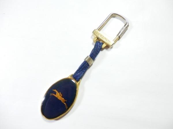 LONGCHAMP(ロンシャン) キーホルダー(チャーム) ネイビー×ゴールド レザー