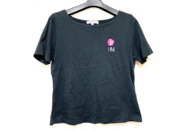 HANAE MORI(ハナエモリ) 半袖Tシャツ サイズL レディース 黒×ピンク フラワー