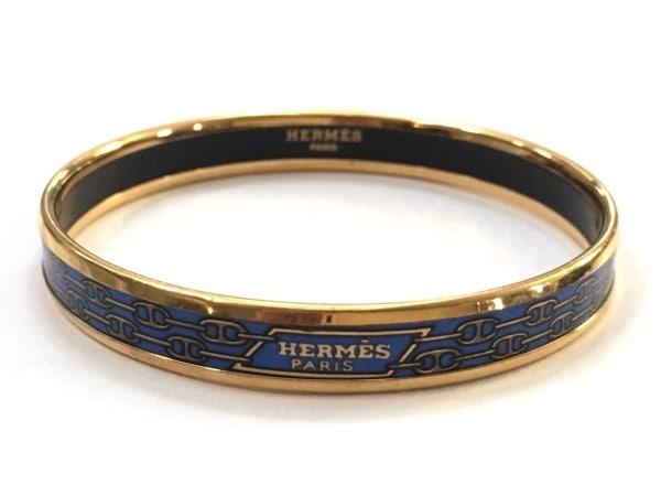 HERMES(エルメス) バングル美品  エマイユ 金属素材 ブルー×ゴールド×黒