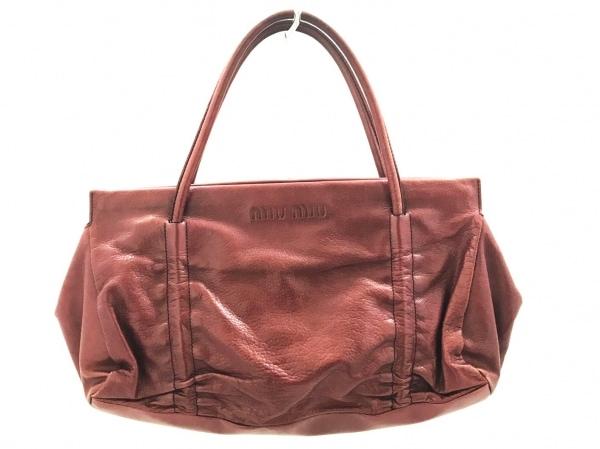 miumiu(ミュウミュウ) ハンドバッグ美品  - ボルドー レザー