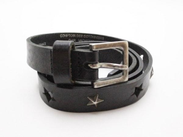 コントワーデコトニエ ベルト 1 黒×シルバー スター レザー×金属素材