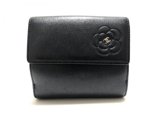 CHANEL(シャネル) Wホック財布 カメリア グレーブルー レザー