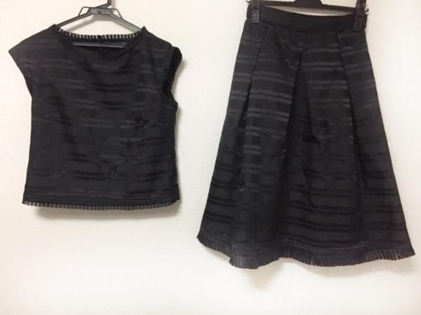 ロイスクレヨン スカートセットアップ サイズM レディース美品  黒 ボーダー/フラワー