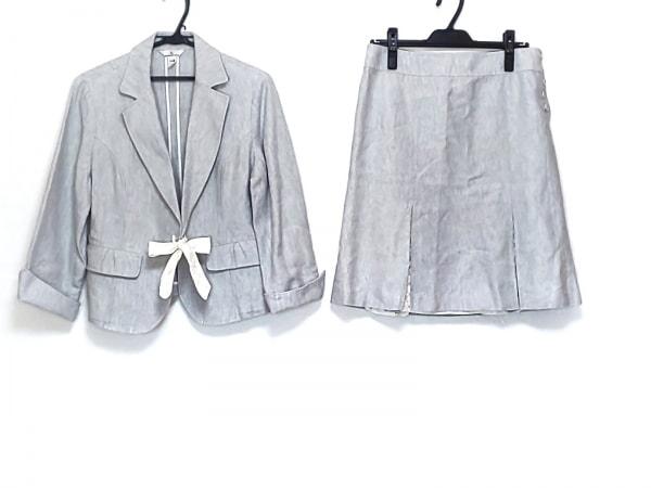 クミキョク スカートスーツ レディース美品  ライトブルー×白 3点セット/レース