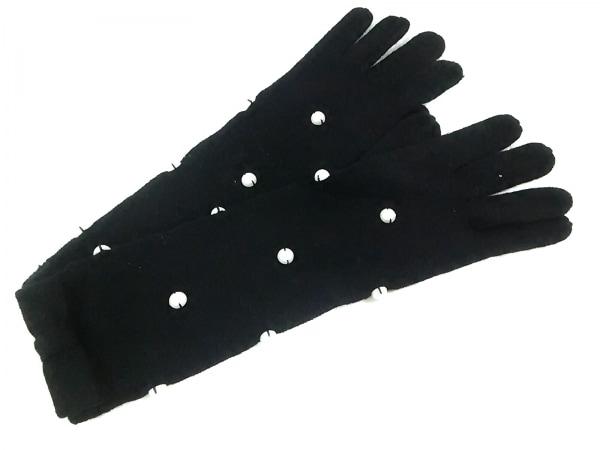 ケイトスペード 手袋 レディース KS1001338 黒 リボン/フェイクパール ウール