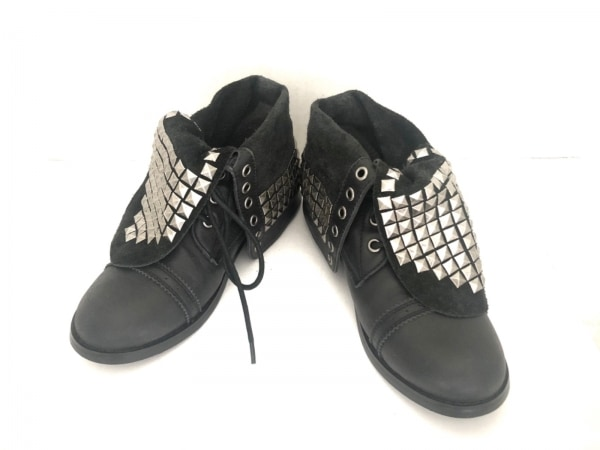 UNGRID(アングリッド) ブーツ レディース 黒×シルバー スタッズ レザー×金属素材