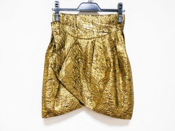 イザベルマラン 巻きスカート サイズ0 XS レディース ゴールド×黒 ショート丈