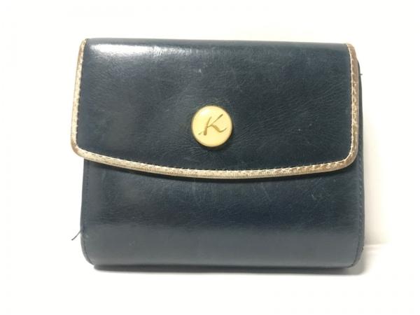 KITAMURA(キタムラ) 3つ折り財布 ネイビー がま口 レザー 1