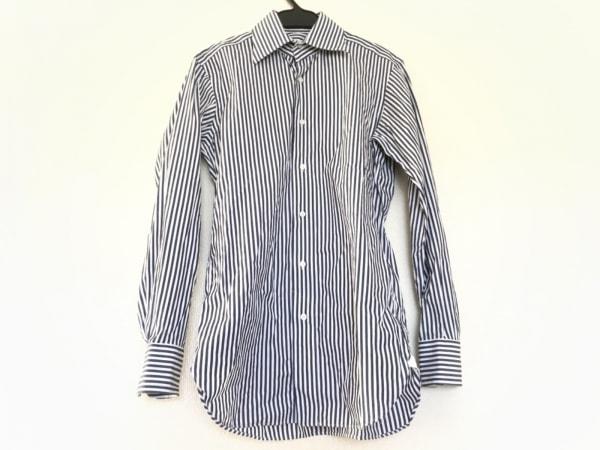 DRESSTERIOR(ドレステリア) 長袖シャツ サイズ37 メンズ 白×ネイビー ストライプ