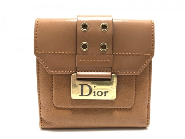 ChristianDior(クリスチャンディオール) Wホック財布 ディオリッシモ ブラウン レザー