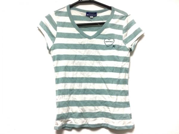 バーバリーブルーレーベル 半袖Tシャツ サイズ38 M レディース ライトブルー×白