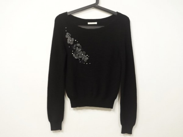 アベニールエトワール 長袖セーター サイズ36 S レディース 黒×白×クリア