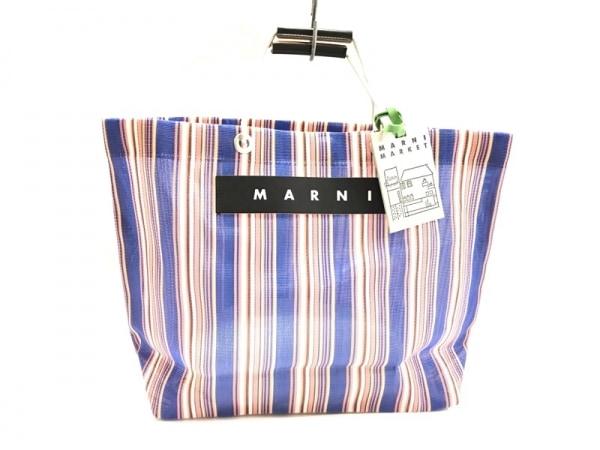 マルニ トートバッグ美品  フラワーカフェショッピングトートバッグ ストライプ