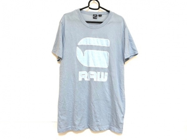 G-STAR RAW(ジースターロゥ) 半袖Tシャツ サイズL メンズ ライトブルー×白