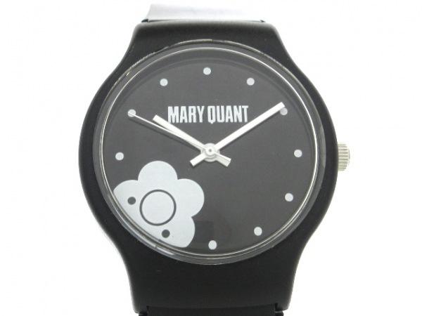MARY QUANT(マリクワ) 腕時計美品  レディース ラバーベルト 黒×白