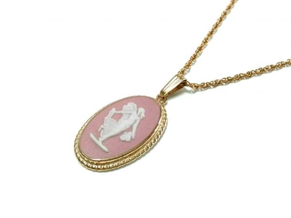 ウェッジウッド ネックレス美品  ジャスパー 金属素材 ゴールド×ピンク×白