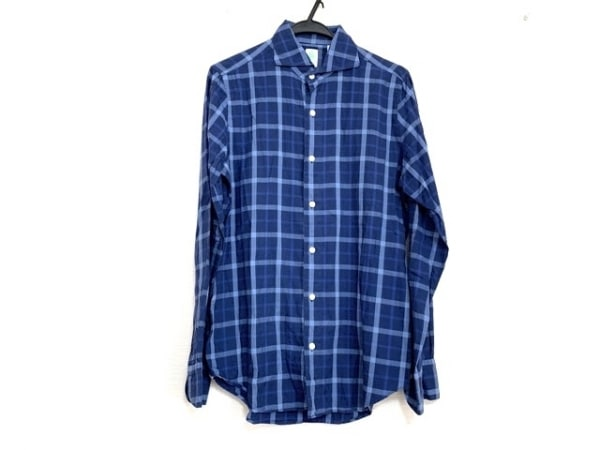 フィナモレ 長袖シャツ サイズ15 1/239 メンズ美品  ネイビー×ブルー×ライトブルー