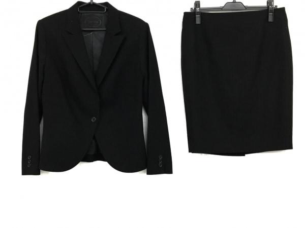 アンタイトル スカートスーツ サイズ42 L レディース 黒×グレー 肩パッド/ストライプ