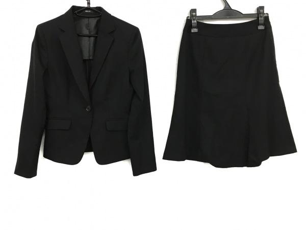 コムサイズム スカートスーツ サイズS レディース 黒 肩パッド/ストライプ