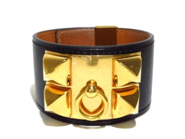 HERMES(エルメス) ブレスレット メドール ボックスカーフ×金属素材 黒×ゴールド