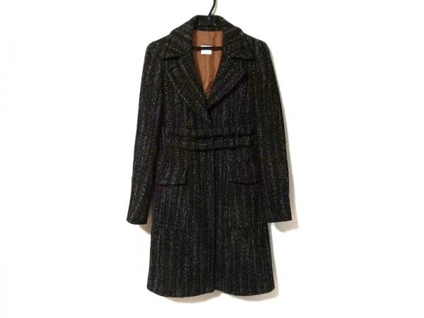 マックス&コー コート サイズ40 M レディース美品  黒×ブラウン×アイボリー 冬物