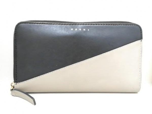 MARNI(マルニ) 長財布 黒×グレー ラウンドファスナー レザー