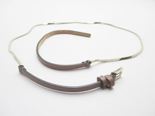バレンチノガラバーニ ベルト美品  ブラウン×ゴールド レザー×金属素材