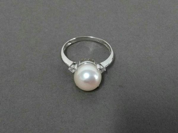 ノーブランド リング美品  Pt900×パール×ダイヤモンド 1