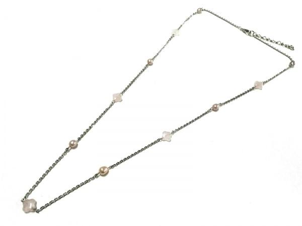 イマック ネックレス美品  金属素材×フェイクパール シルバー×ピンク×白 ビーズ