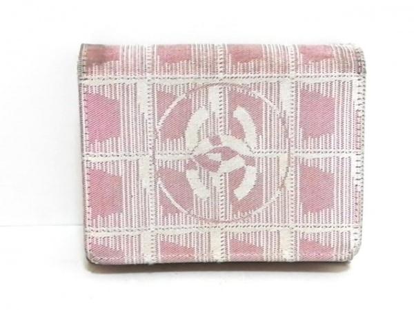 CHANEL(シャネル) 3つ折り財布 ニュートラベルライン アイボリー×ピンク ジャガード