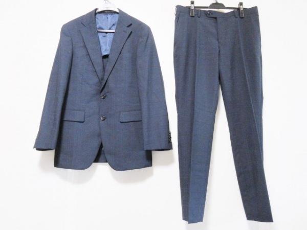 COMME CA MEN(コムサメン) シングルスーツ サイズL メンズ ダークネイビー チェック柄