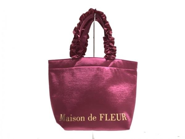 Maison de FLEUR(メゾンドフルール) トートバッグ ピンク×ゴールド フリル ナイロン