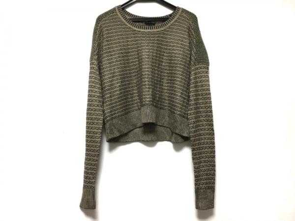 theory(セオリー) 長袖セーター サイズS レディース ベージュ×黒×グリーン