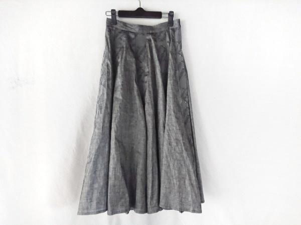 ビアズリー スカート サイズF レディース美品  ライトグレー×ライトグリーン×マルチ
