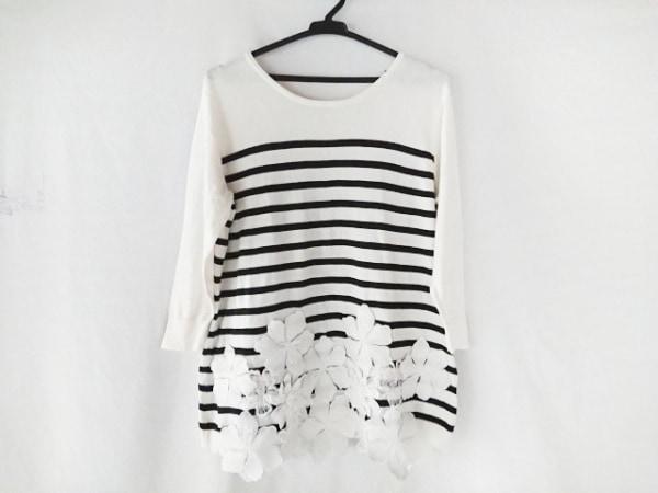 BEARDSLEY(ビアズリー) 七分袖セーター サイズF レディース 白×黒 フラワー/ボーダー
