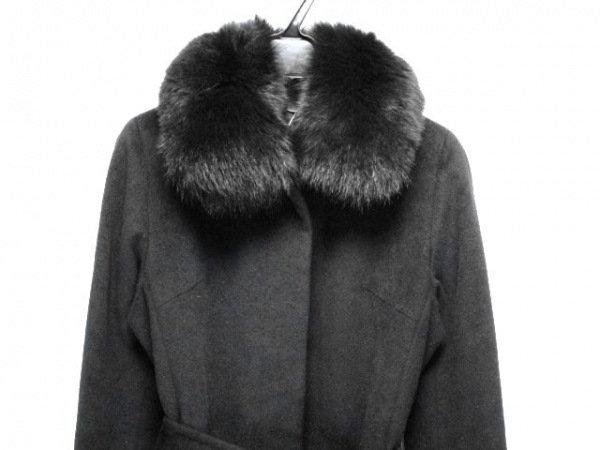 ef-de(エフデ) コート サイズ11 M レディース 黒 冬物/フォックスファー