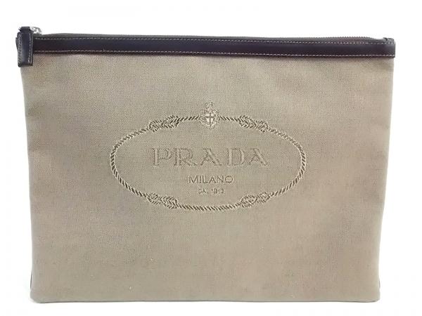 PRADA(プラダ) クラッチバッグ - 2N1283 ベージュ×ダークブラウン 革タグ