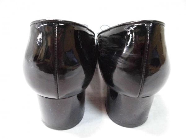 マイ フェラガモ パンプス 5 レディース ヴァラ 黒 リボン エナメル(レザー)