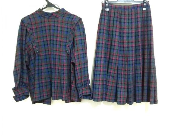 レリアン スカートスーツ サイズ9 M レディース グレー×ピンク×マルチ チェック柄