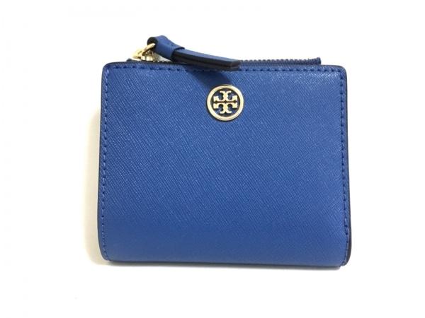 TORY BURCH(トリーバーチ) 2つ折り財布新品同様  ブルー レザー