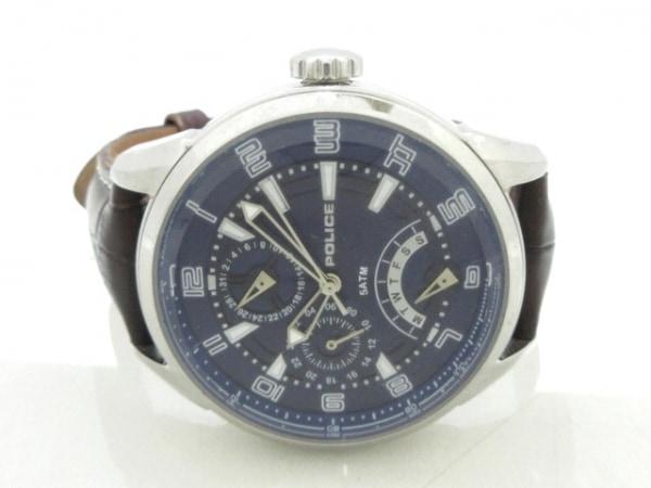 POLICE(ポリス) 腕時計美品  14407J メンズ 革ベルト ネイビー