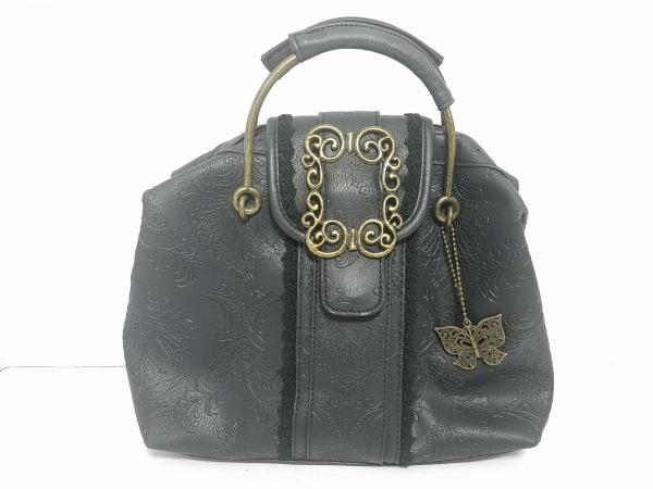 axes femme(アクシーズファム) ハンドバッグ美品  黒 型押し加工/レース 合皮