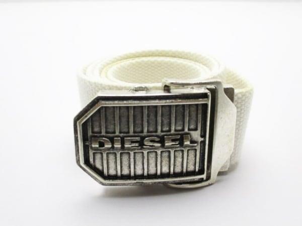 DIESEL(ディーゼル) ベルト 85/34 アイボリー×シルバー キャンバス×金属素材