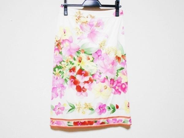 LEONARD(レオナール) スカート サイズ64 レディース アイボリー×ピンク×マルチ 花柄
