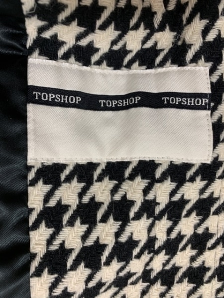 トップショップ コート サイズ1240 レディース美品  黒×アイボリー 千鳥格子/冬物