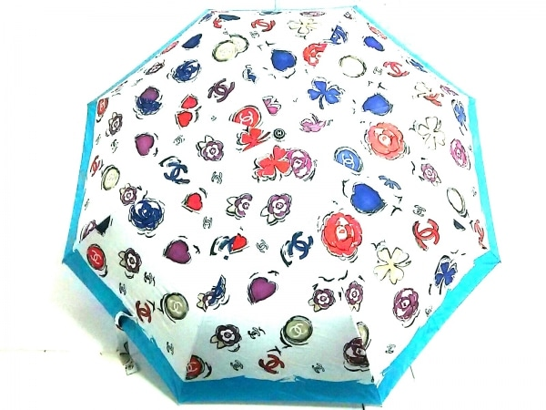 CHANEL(シャネル) 折りたたみ傘 ライトブルー×白×マルチ ココマーク/ワンタッチ式