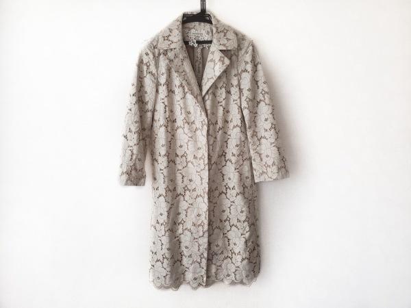 セタイチロウ コート サイズ2 M レディース アイボリー×ベージュ 冬物/刺繍/フラワー