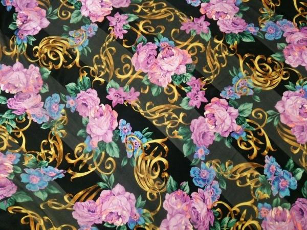 ChristianDior(クリスチャンディオール) スカーフ美品  黒×マルチ シルク/花柄
