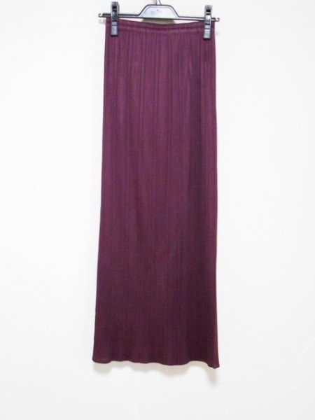 プリーツプリーズ ロングスカート サイズ3 L レディース美品  ボルドー プリーツ