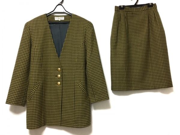 HANAE MORI(ハナエモリ) スカートスーツ サイズM レディース イエロー×黒 肩パッド